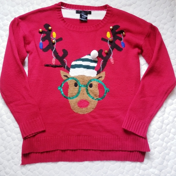 Nerdy Christmas Sweaters.Christmas Sweater Reindeer Knit Nerd Glasses Ugly